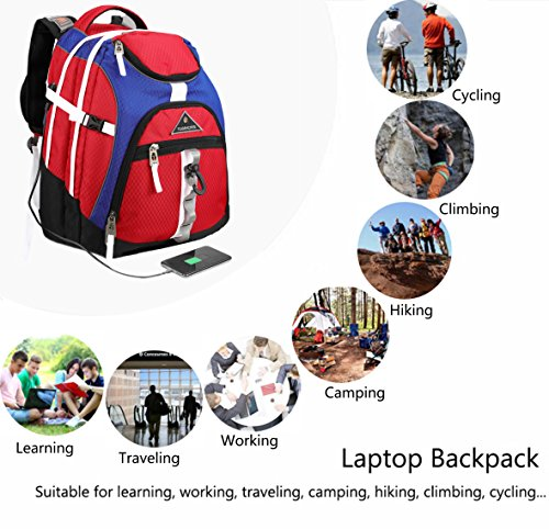 Laptop Backpack 15.6-Inch Business College Travel Computer Bag for Surface Water-Resistant Waterproof USB Charging Port Slim Light Weight Reflective Strip Rain Cover Large Capacity by Ramhorn(warmred) by Ramhorn (Image #8)