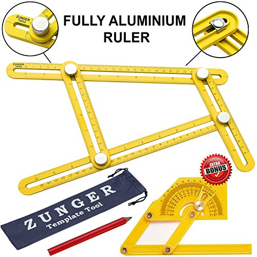 UPGRADED FULLY METAL Ruler Multi-Angle Template Tool Finder - Ultimate Ruler General Measuring Angles and Forms - Instrument for Craftsmen Builders Tilers Handymen Carpenter Roofers DIY