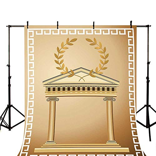 Toga Party Stylish Backdrop,Antique Temple with Roman Olive Branch and Greek Architecture Motif for Photography,78.7