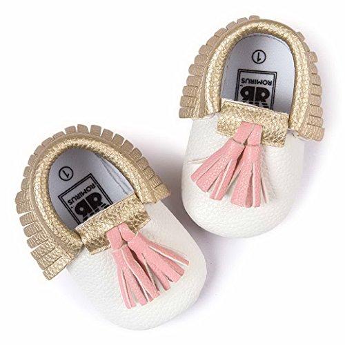Happy Cherry Zapatos con Borlas Mocasines de PU Piel Suaves Zapatitos Primeros Pasos Calzado Infantil para 3-18 Meses Bebés Niñas Niños Baby Shoes Blanco*Rosa