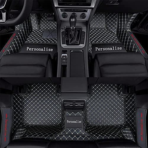 Aoyade Car Floor Mats fit for SUV Sedan Van Custom Style Luxury Leather All Weather Protection Floor Liners Full Covering Door Threshold Carpet BlackBeige