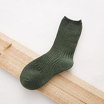 meichen de calcetines en primavera y otoño Lady Tube Socks algodón puro Color Fácil rayas calcetines