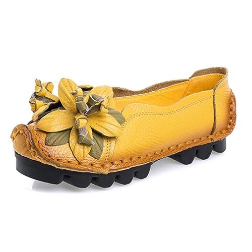 Resbalón de Las señoras Zapatos Hechos a Mano Zapatos Retro Suave Fondo Plano en Mocasines Mocasines Mujer Zapatos de Cuero: Amazon.es: Zapatos y ...