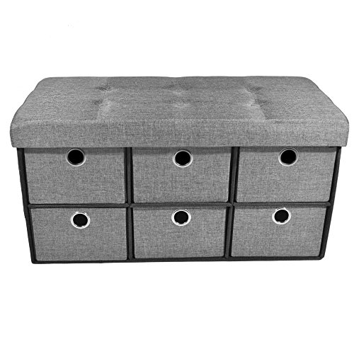 "Achim Home Furnishings OTDLN30GY2 Collapsible 6 Drawer Storage Ottoman, 30"" x 15"" x 15"", Grey"