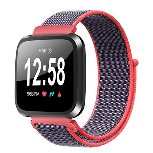 Xiaohua Two-Color & Color Edge Woven Nylon Fabric Accessories Strap Wrist Band Compatible with Fitbit Versa Smart Watch/Fitbit Versa Lite Edition/Versa Special Edition (Red)