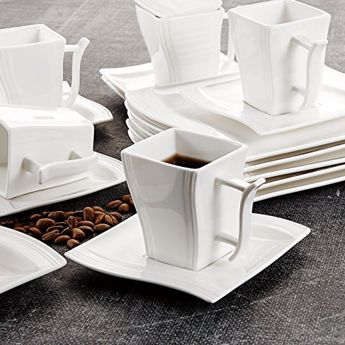 Malacasa 18-Piece Porcelain Teacups and Saucer Set with Coffee Cup Set Dessert Plates and Saucers Service for 6, Ivory White - Series Flora by Malacasa (Image #4)
