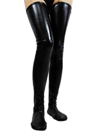 2ca51574cb7d2 Overknee PU Leather Knee Socks Hold Up Stockings Cosplay Lingerie (black)