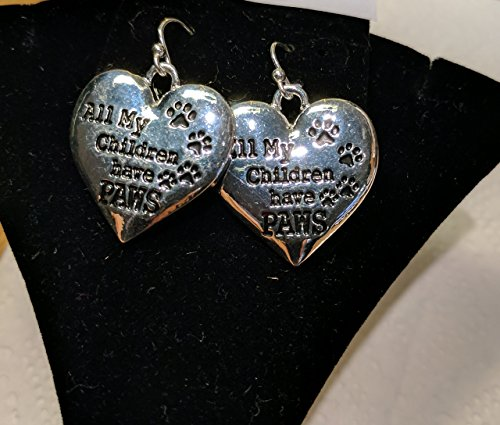 All My Children Have Paws (Dog or Cat) Charm Earrings on Sterling Silver French Ear Wires