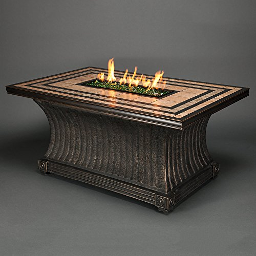Agio Tuscan Gas Fire Pit with Copper Reflective Fire Glass
