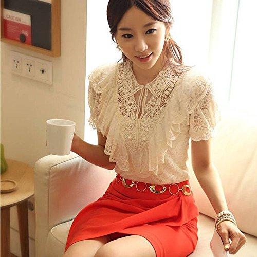 Beading Top - Sansoisan Fashion Elegant Shirt Women White Ruffle and Beading Short Sleeve Lace Blouses Office Tops