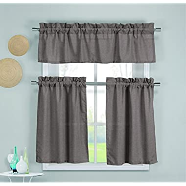Duck River Textiles Benetton 3-Piece Set Kitchen Curtain, Espresso