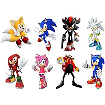 SONIC HEDGEHOG 8 CHARACTERS SET Decal WALL STICKER Home Decor Art Game  C615, Regular