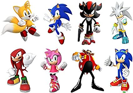 amazon com sonic hedgehog 8 characters set decal wall sticker home