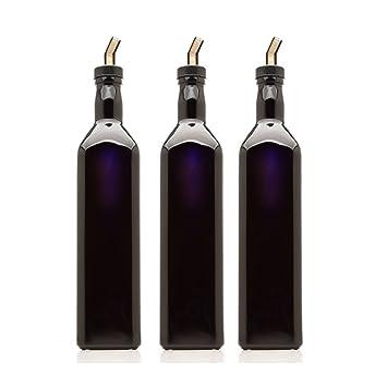 infinity tarros 750 ml (25.36 FL OZ) negro ultravioleta de cristal cuadrado botella de aceite con boquilla antigoteo para de plástico: Amazon.es: Hogar