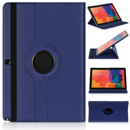 Ratesell Samsung Galaxy Note Pro 12.2 & Tab Pro 12.2 Rotating Case Cover - Vegan Leather 360 Degree Swivel Stand for NotePRO (SM-P900) & Tab PRO (SM-T900/T905) 12.2-inch Android Tablet (Deep Blue)