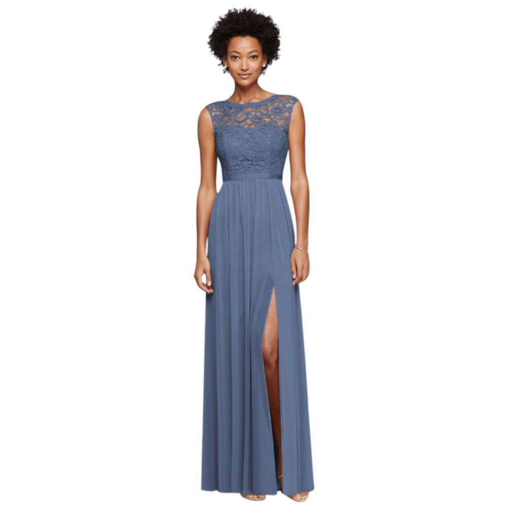 Long Bridesmaid Dress with Lace Bodice Style F19328, Steel Blue, 8 by David's Bridal