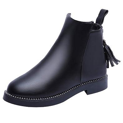 Rot Runde Zehe Schnürung Schleife Reißverschluss Blockabsatz Stiefeletten Damen Boots