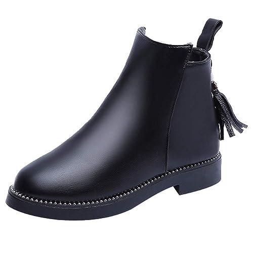 9b76f04b69e1c Amazon.com | Sunmoot Faux Leather Ankle Boots Women Vintage Tassel ...