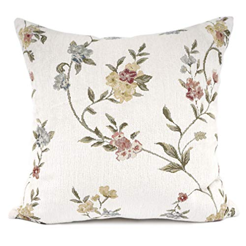 YOUR SMILE Embroidery Jacquard Floral Leaf Pattern Square Decorative Throw Pillow Case Cushion Cover 18 x 18 inch