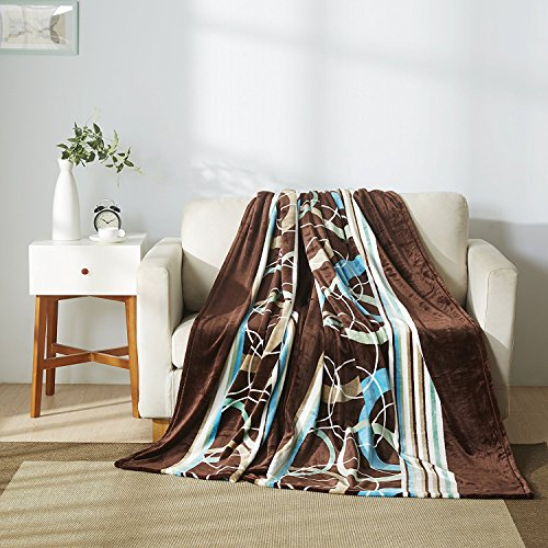 All American Collection New Super Soft Printed Throw Blanket (Queen Size, Brown/ Turquoise)