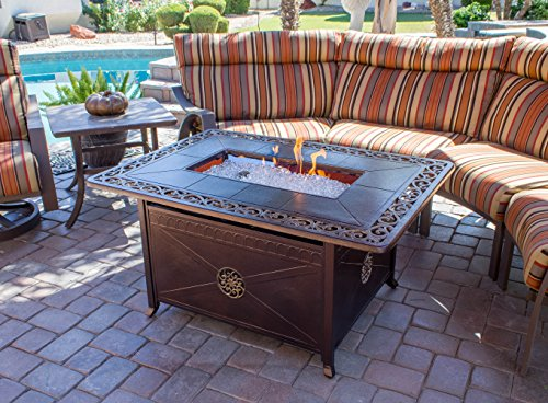 Hiland FS-1212-T-10 Decorative Propane Fire Pit, Large, Bronze Cast Aluminum
