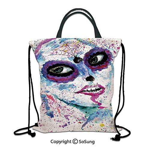Girls 3D Print Drawstring Bag String Backpack,Grunge Halloween Lady with Sugar Skull Make Up Creepy Dead Face Gothic Woman Artsy,for Travel Gym School Beach Shopping,Blue Purple ()