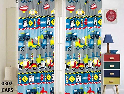 (MB Home Collection 4 Pieces Window Curtains Panels Printed Multicolor Construction Vehicles, Trucks, Police Car & Road Signs Design # Curtain Cars)