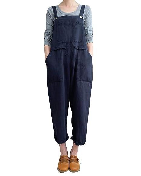 Amazon.com: Mono de lino suelto para mujer, con bolsillos ...