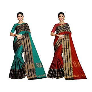 Pramukh Suppliers Women's Cotton Silk Saree with Blouse Piece, Free Size (Multicolour, AU_MB-AU_R) – Pack of 2 51juFIifgfL