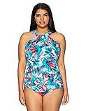 Amazon Brand - Coastal Blue Women's Plus Size Control Swimwear Cross Neck One Piece Swimsuit, Whispering Wind, 1X