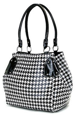 Classic Black & White Houndstooth Print Bucket Purse Bag Classy & Timeless