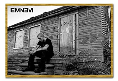 Eminem MMLP 2 Marshall Mathers Poster Magnetic Notice Board Oak Framed - 96.5 x 66 cms (Approx 38 x 26 inches)