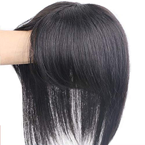 """LE BI YOU Various Length Real Human Hair Clip in Topper Top Hairpiece with Bangs for Women with Thin Hair with Bangs (30cm/11.8"""", Natural Black)"""