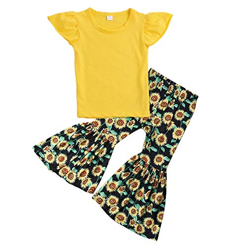 (3Pcs Toddler Baby Girl Clothes Long Sleeve Blue Top Shirt Sunflower Pants with Floral Headband Outfit Set (1-2 Years,)