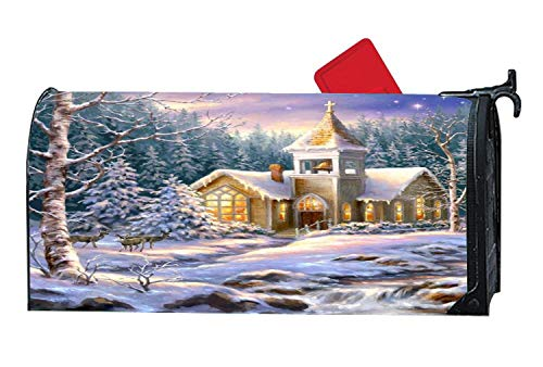Winter Church Christmas Deer Forest Magnetic Mailbox Cover Mailwrap, Winter Theme All-Weather Vinyl Mailbox Makeover Cover, Full Magnet on Back Postbox Cover Standard -