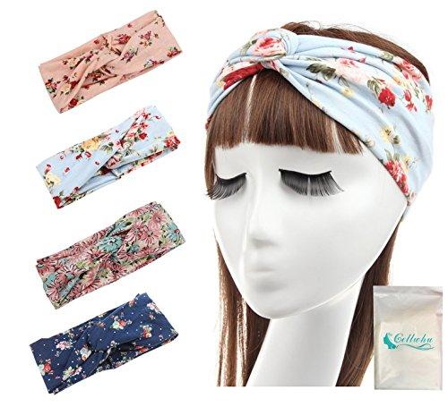 Gellwhu Women's Elastic Flower Printed Turban Headwrap Knotted Soft Twisted Headband