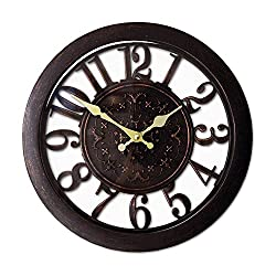 Decor Hut Brown vintage Round 16 Wall Clock Silent Quartz Movements, Arabic Numeral Display, Great Large Clock for Office or Home Glass Top with Gold Handles