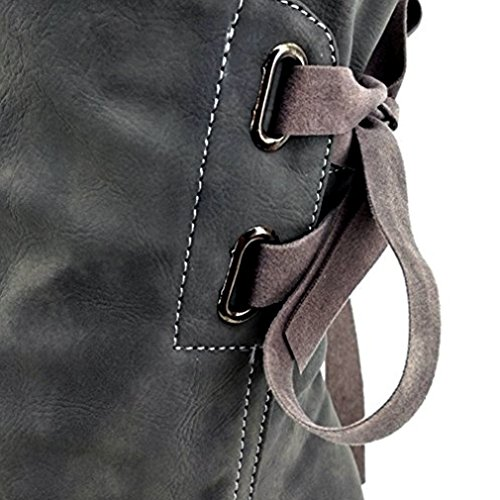 Flat Boot Calf Mid Comfy Women Back Lace Grey Up Ruched Blivener Boots HzqYI