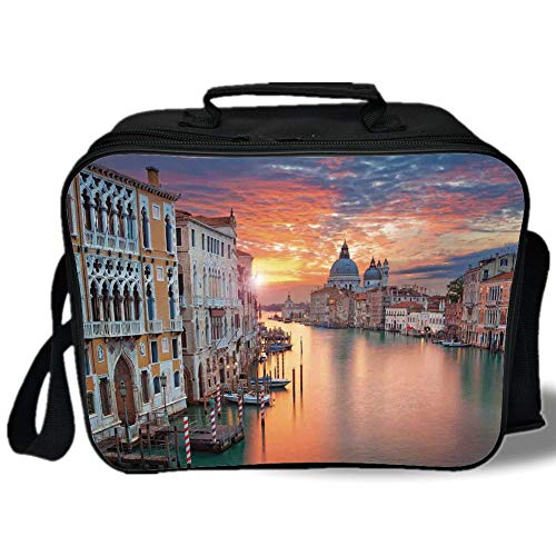 (Insulated Lunch Bag,Cityscape,Image of Grand Canal in Venice Horizon European Town International Heritage Urban,Multi,for Work/School/Picnic,)