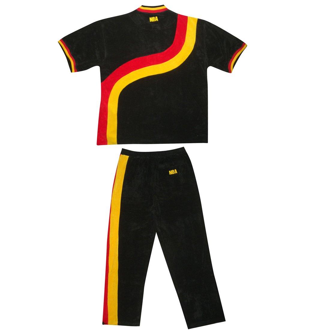 2 piezas Set: NBA para hombre Atlanta Hawks atlética button-down-manga corta-camiseta y pantalones con logotipos bordados - colour negro, NBA, hombre, ...