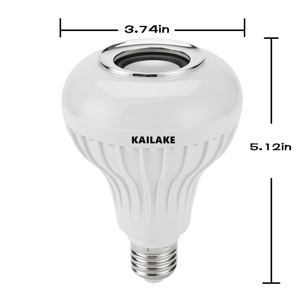 Bedroom Living Room LED Light Bulb Bluetooth Speaker KAILAKE E27 led Light Bulb with Bluetooth RGB Changing Color Lamp Built-in Audio Speaker with Remote Control for Home