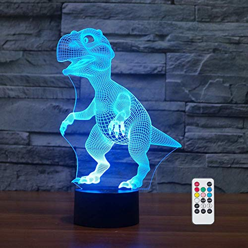 [Wall Adapter Included] Remote and Touch Control LED Dinosaur Night Light, With 7 colors, 3 Working Modes and Timer Function - Perfect for Bedroom, Baby and Kid's ()
