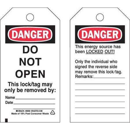 BRADY 65450 Danger Tag 5-3/4 x 3 In Cardstock PK25 WLM