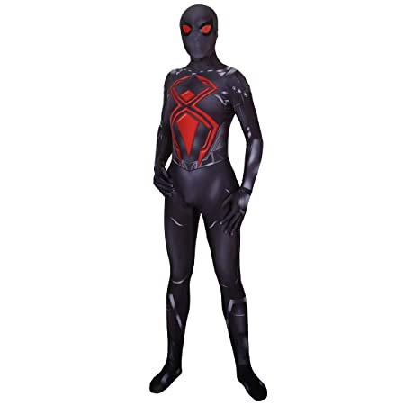 QQWE PS4 Spiderman Cosplay Black Battle Suit Kostüm Rollenspiel Kleidung Body Spandex Jumpsuits,Black-XXXL