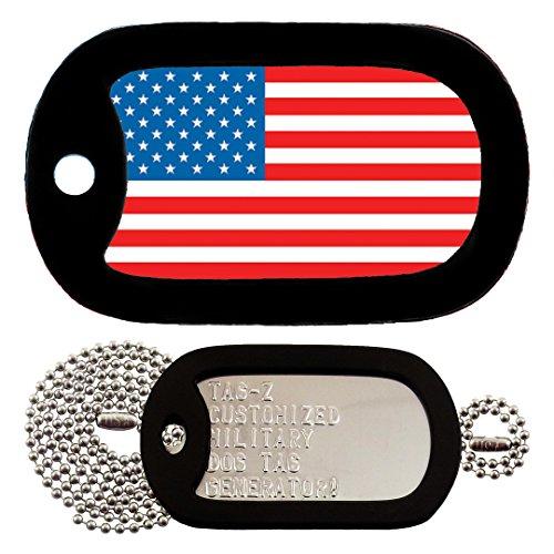 Military Dog Tags - Custom Embossed AMERICAN FLAG Military Dog Tag Set