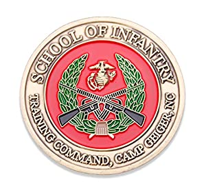 USMC School Of Infantry Camp Geiger Challenge Coin - Marine Corps SOI Military Coins - Designed By Marines For Marines - Officially Licensed from Coins For Anything Inc