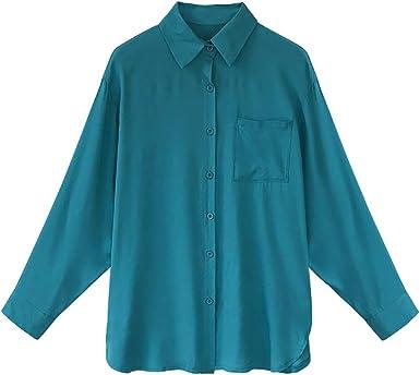 Mujer Blusa Cuello V Camiseta Túnica Color Puro Camisa Mangas largas para Mujer: Amazon.es: Ropa y accesorios