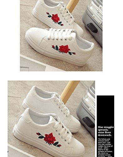 Casual Impermeabile Adulto Donna Scarpe Stampa Bianco Fitness Interior all'Aperto Basse A Rose Sneakers Primavera Minetom PZqBEPw