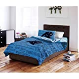5 Piece NFL Panthers Comforter with Sheets Full Set, Blue Black Multi Football Themed Bedding Sports Patterned, Team Logo Fan Merchandise Athletic Team Spirit Fan, Polyester, For Unisex