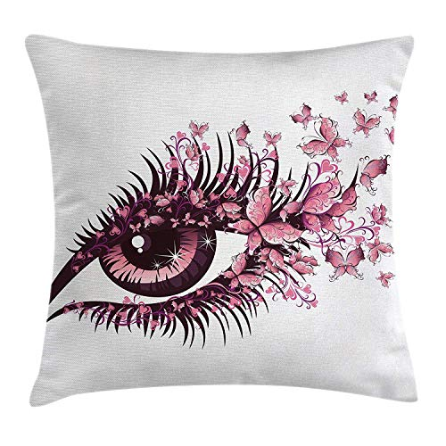 Sunmoohat Butterflies Decoration Throw Pillow Cushion Cover, Female Eye with Butterflies Eyelashes Mascara Stare Makeup Party, Decorative Square Accent Pillow Case, 18 X18 Inches, Lilac and -